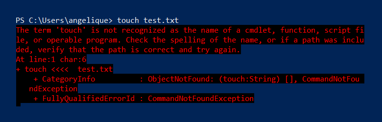 Touch doesn't work in PowerShell